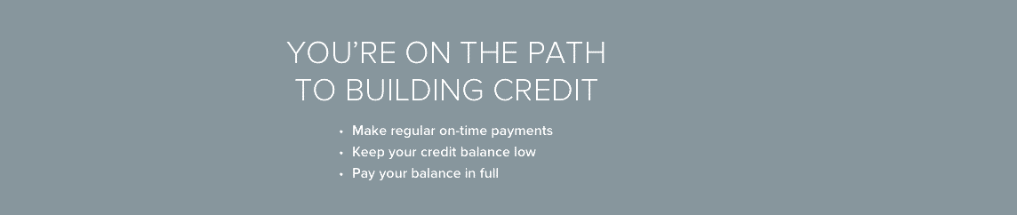 You are on the path to building credit